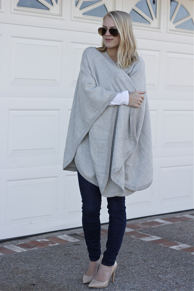 Cape, Cuyana, grey, wrap, sweater, alpaca, Shae Roderick, outfit, style