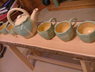 The Potter Stone's Faceted Teapot and Mugs