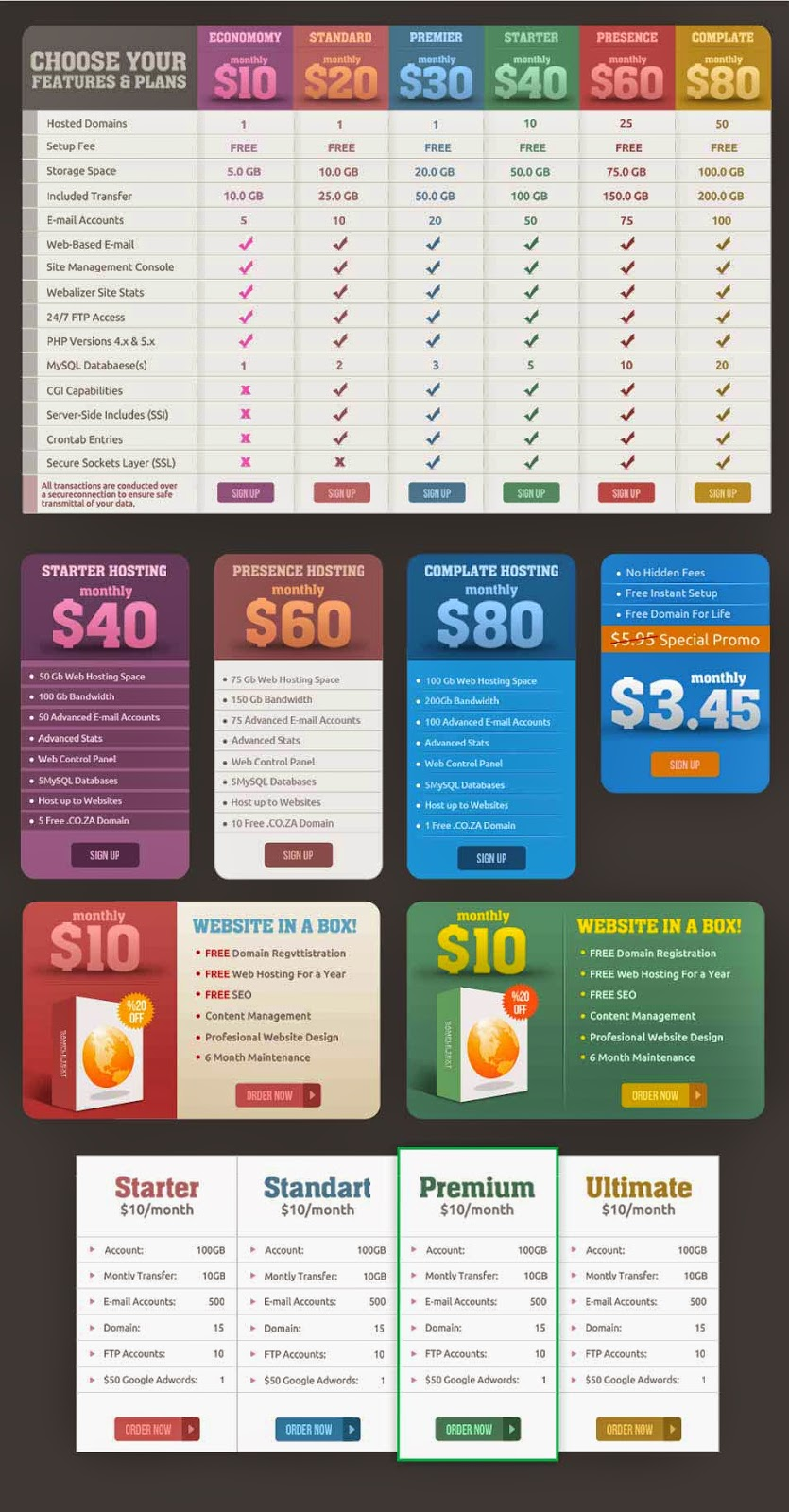Price Tables and Web Banners
