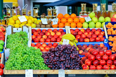 Fresh fruit and vegetables at a farmer's market.