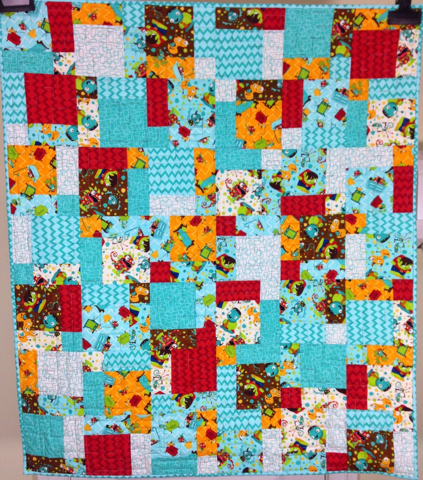 Quilty sewing for Baby monster fabric