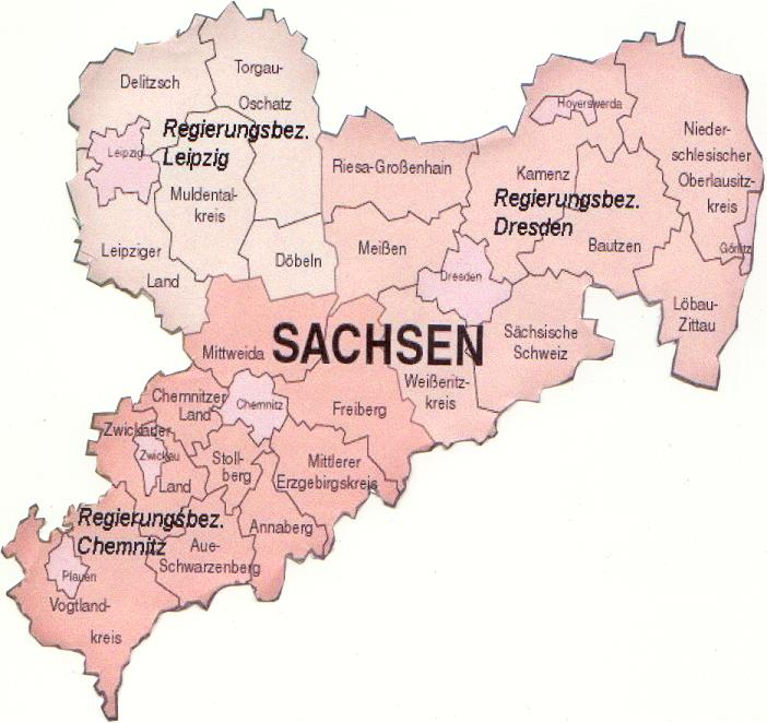 Travels Through Germany - Map of Sachsen