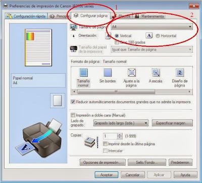 configuración de página en impresoras canon