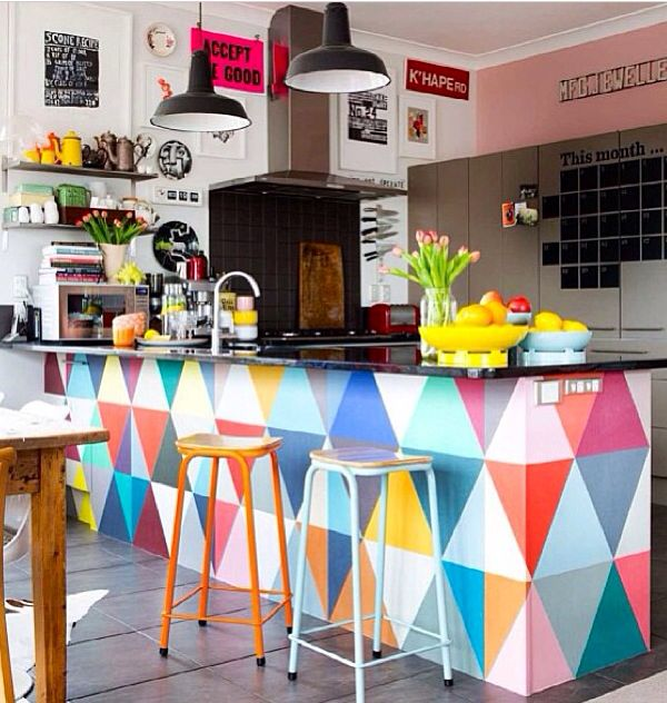 colorful painted kitchen island