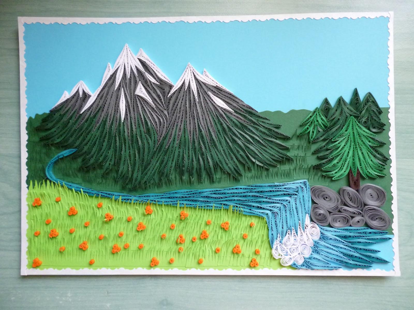 Pap rvil g quilling t jk p quilled mountain landscape for Landscape design paper