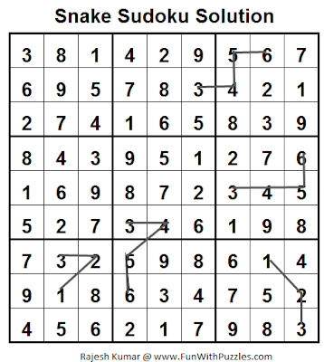Snake Sudoku (Fun With Sudoku #24) Solution