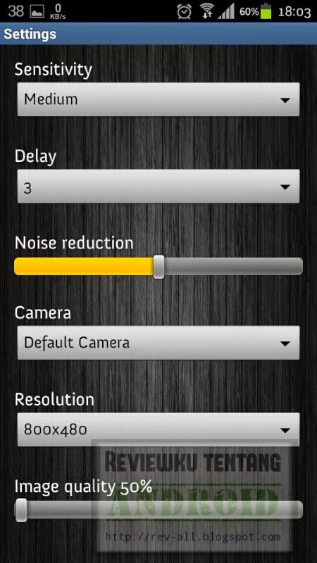 Pengaturan aplikasi Motion Detector - jepret dan simpan foto secara otomatis jika terdapat gerakan (rev-all.blogspot.com)