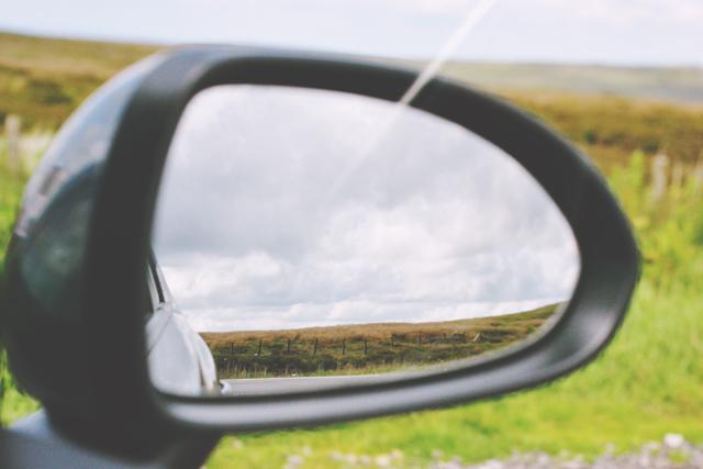 View of moor in mirror
