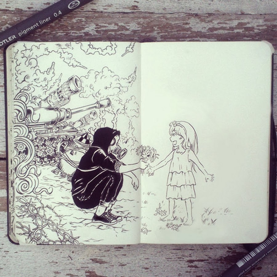 11-#43-War-and-Peace-365-Days-of-Doodles-Gabriel-Picolo-www-designstack-co