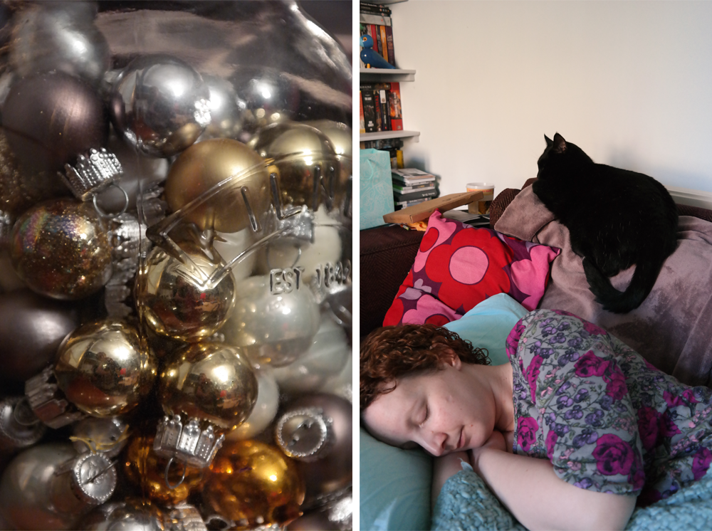 Christmas baubles in a Kilner jar / Sarah asleep on the sofa with a cat