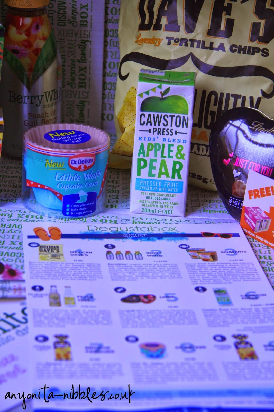 Degustabox ingredients with spec sheet | anyonita-nibbles.co.uk