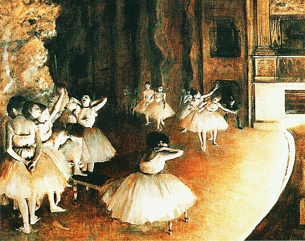 Эдгар Дега. Репетиция балета на сцене. 1874.