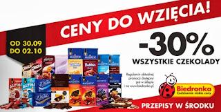 Wszystkoe czekolady -30% promocja biedronka