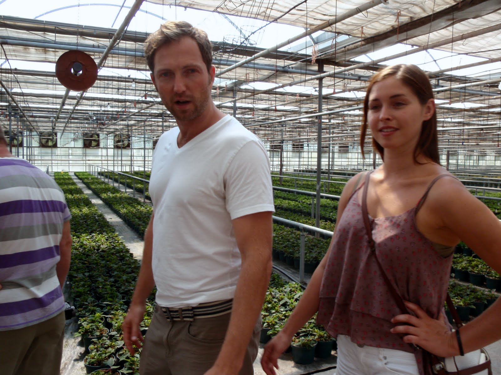 Andy and Natalie. Andy showing us the family green house business. It's huge.