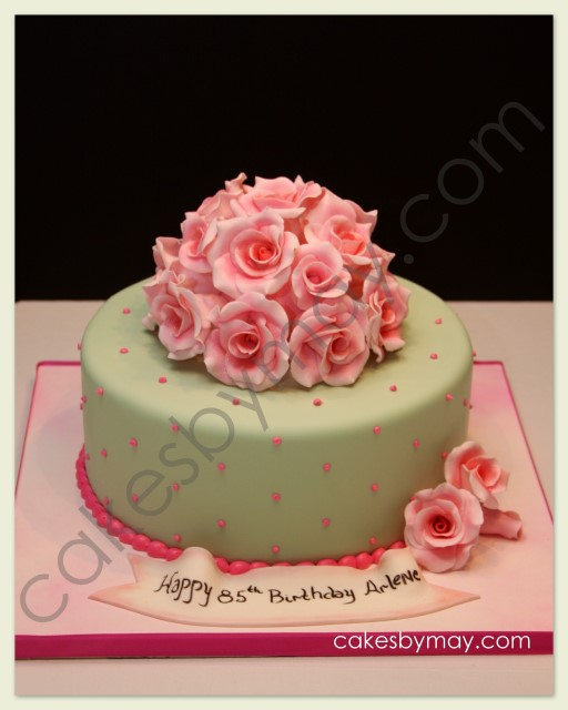 Cakes by Maylene: Roses and Cherry Blossoms Birthday Cakes