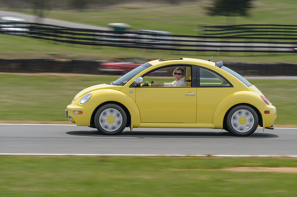 Peg takes a couple laps around Summit Point in her VW Beetle