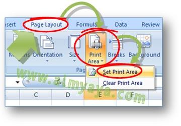 Gambar: Contoh Cara menentukan batas area pencetakan dokumen di Microsoft Excel