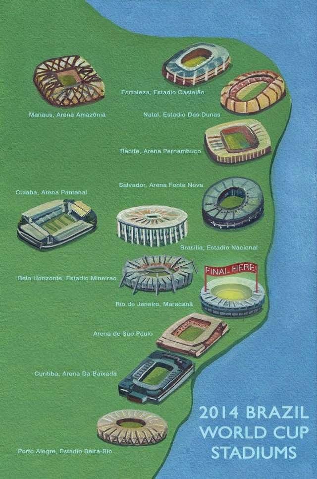 Mapa ilustrado con todas las sedes mundialista del Mundial Brasil 2014