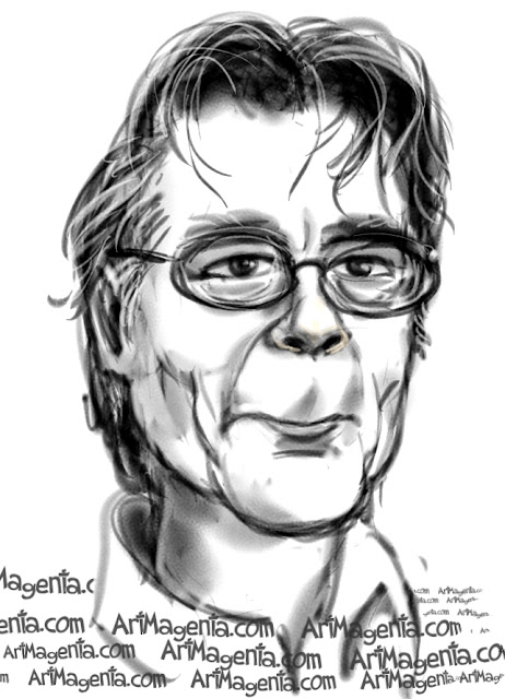 Stephen King  caricature cartoon. Portrait drawing by caricaturist Artmagenta