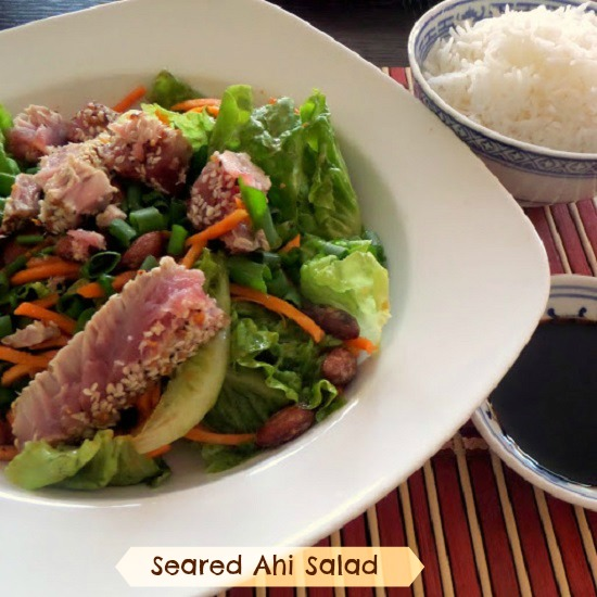 Seared Ahi Salad:  Strips of seared tuna steak atop a green salad tossed in an Asian vinaigrette
