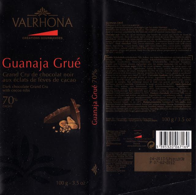 tablette de chocolat noir gourmand valrhona guanaja grué 70
