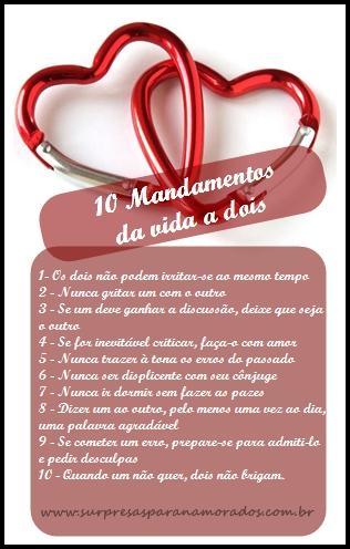 10 mandamentos da vida a dois