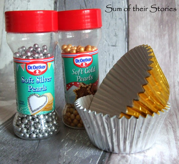 gold and silver cupcake decorations