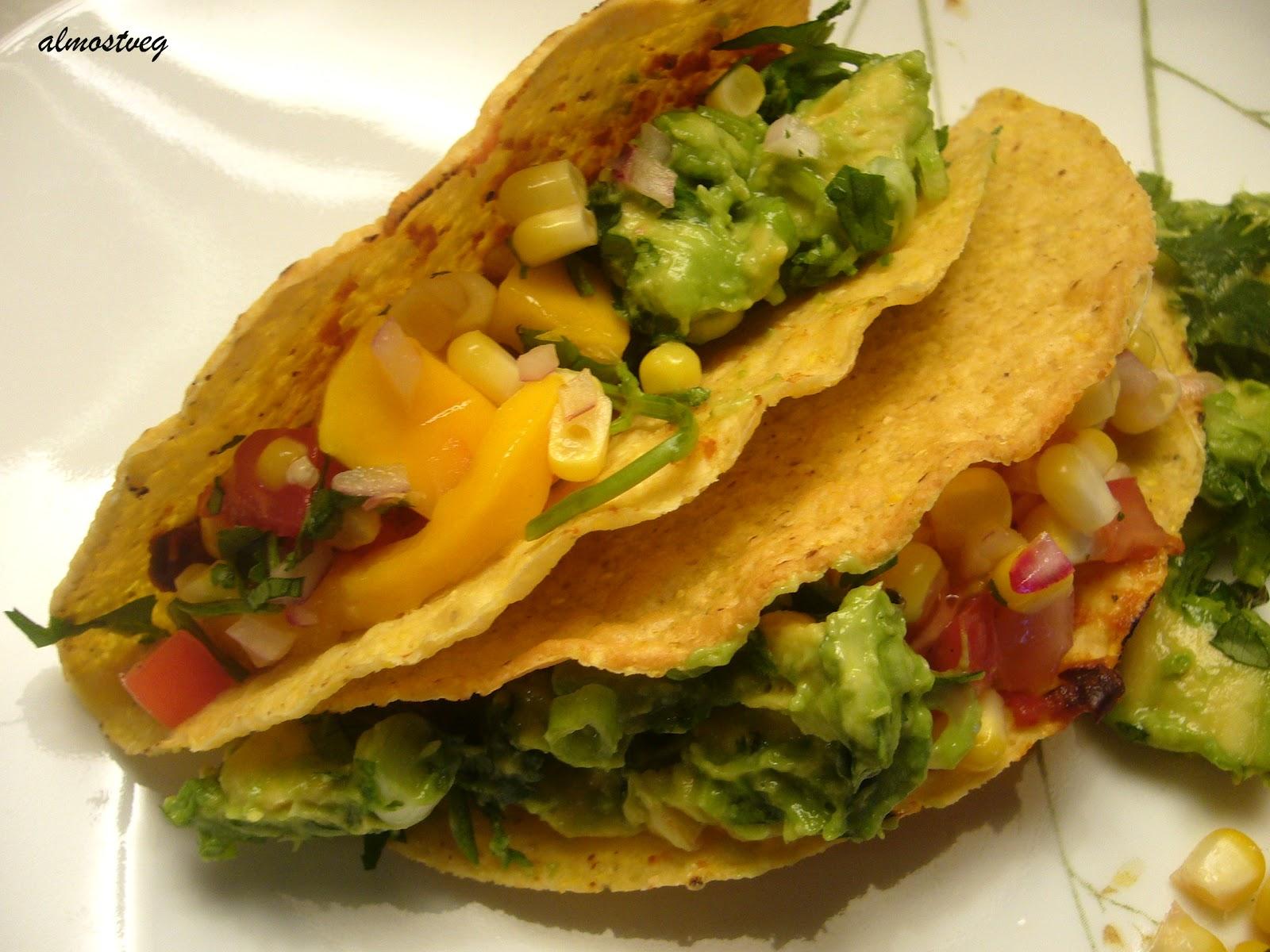 almostveg: Black bean taco with mango salsa