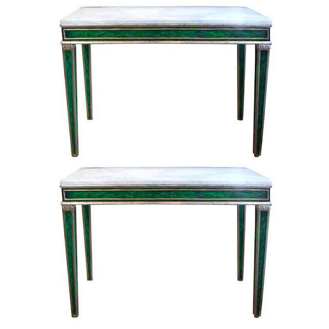 Two 19th Century console tables with faux malachite base trimmed in white gold with marble top