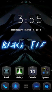 Screenshots of the Black Elf GO Launcher Themes for Android mobile, tablet, and Smartphone.