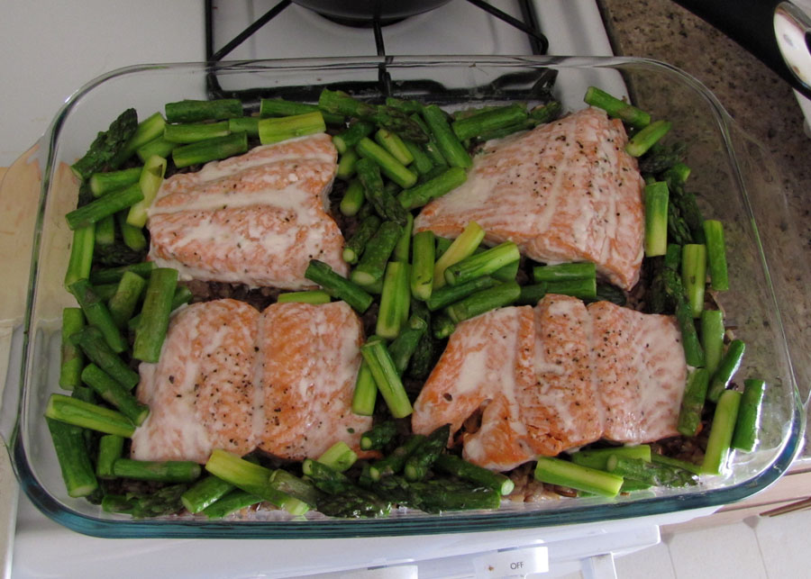 Arrange asparagus over rice. Bake 7 to 10 minutes or until salmon just ...