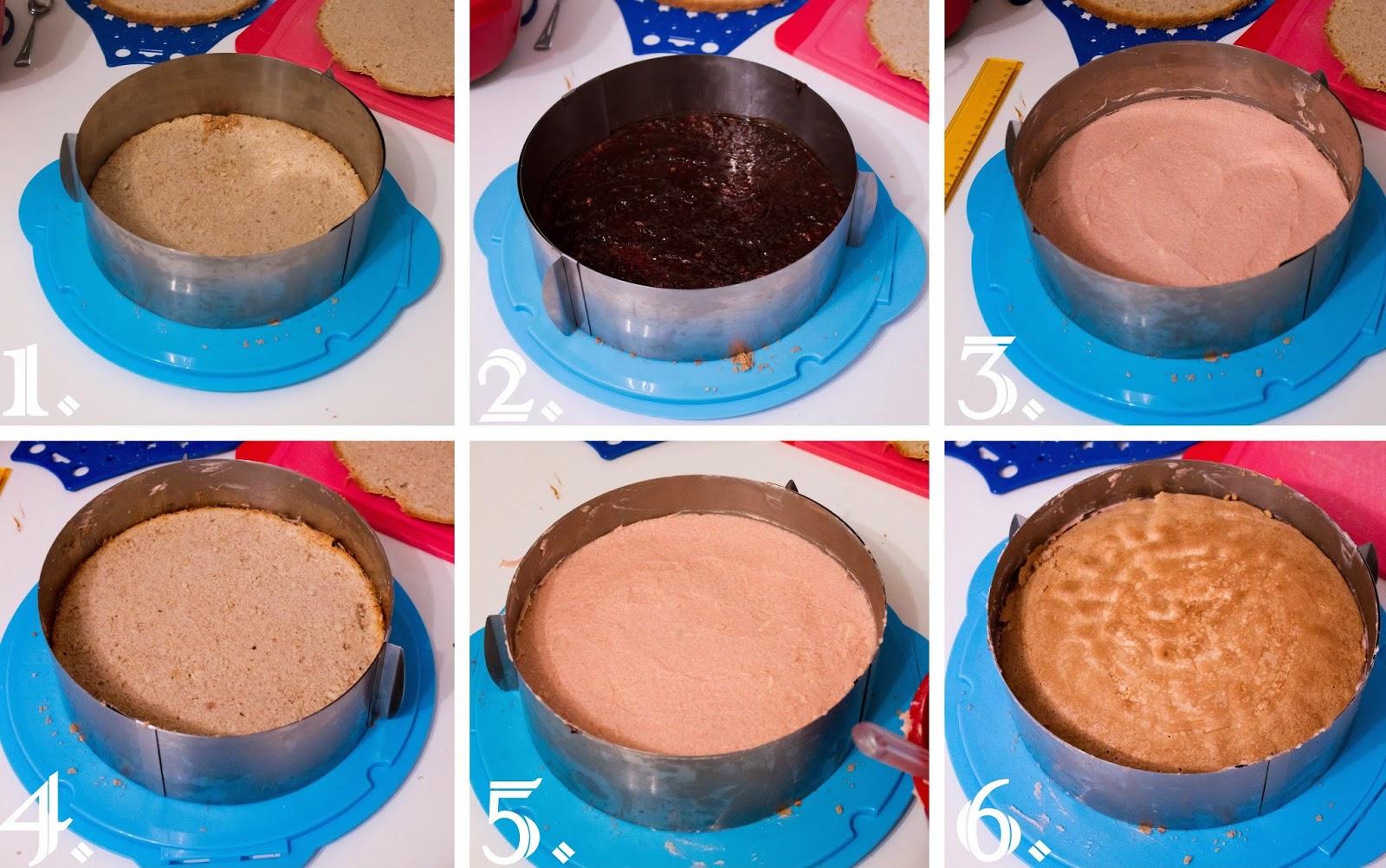 Zimt-Biskuit mit Pflaumenmus, Pflaumenbuttercreme und Vanillebuttercreme, Rezept
