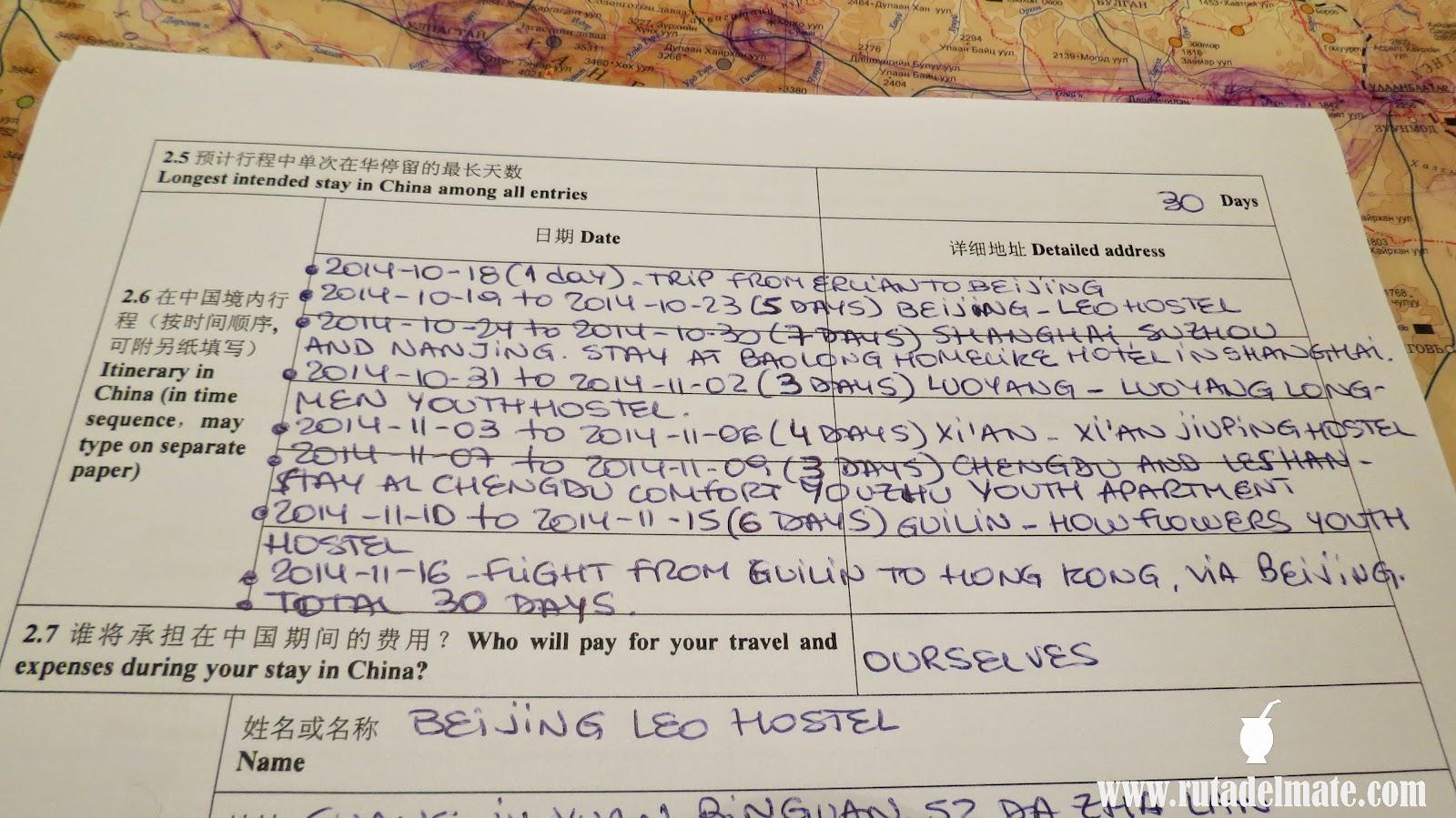 Visada China en Mongolia