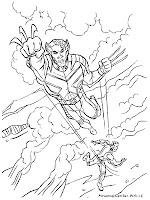Mewarnai Gambar Wolverine X-Men Melompat Keudara