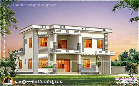 contemporary villa in different color  binations