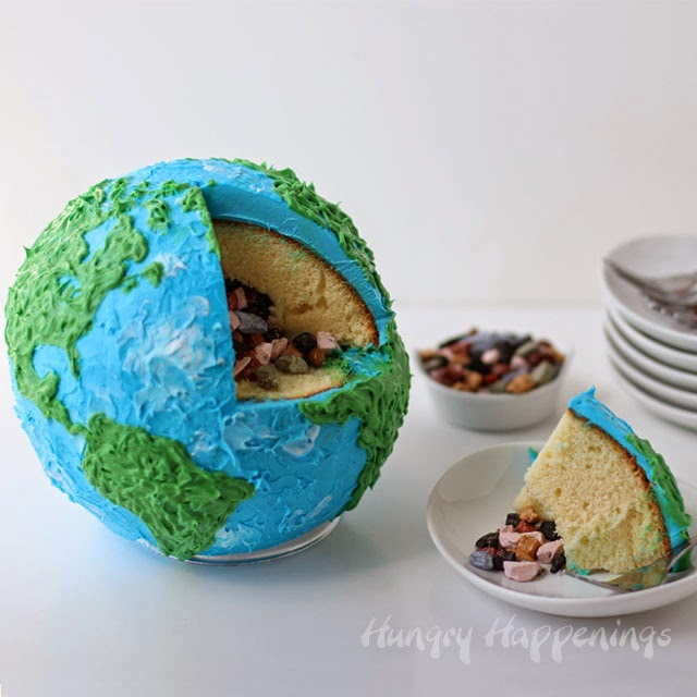 Earth Cake filled with Candy Rocks