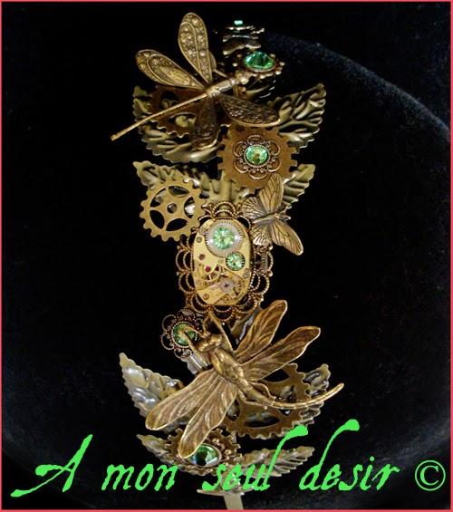 Serre-tête Steampunk Bronze Rouages mouvement de montre mécanique strass Swarovski vert libellule papillon Organic ClockWork Headband Headdress