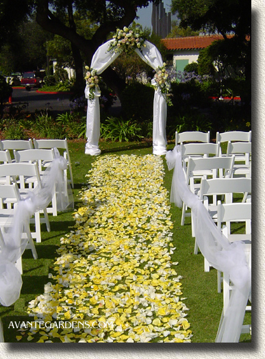Wedding inspiration an outdoor ceremony aisle wedding for Aisle wedding decoration ideas