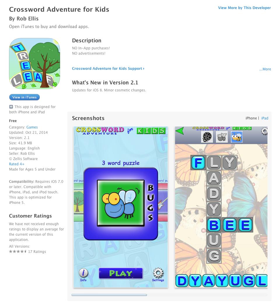 Ucet Free Ios App Today Crossword Adventure For Kids Ucet