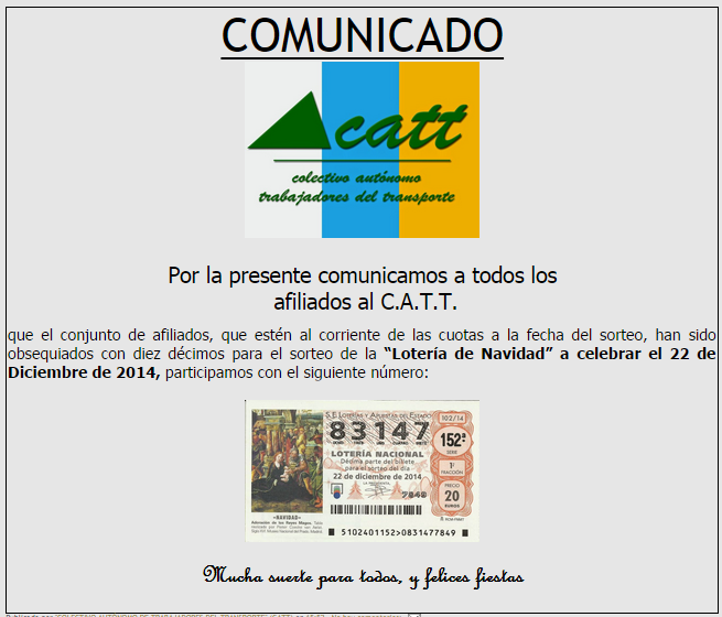 LOTERÍA DE NAVIDAD 2014