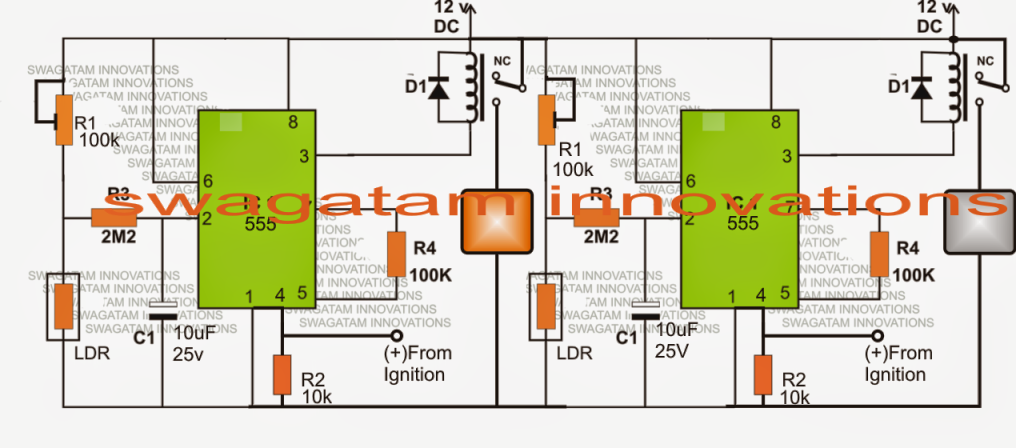Ambient Light Sensitive Relay Circuit For Car Head Lamp