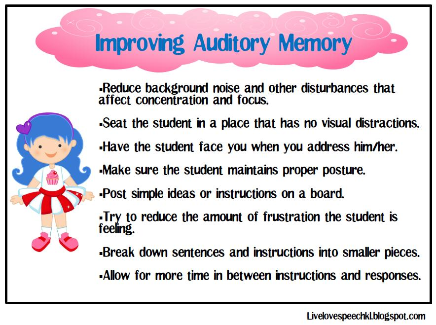 Live Love Speech: Auditory Memory Candy and Sweets!
