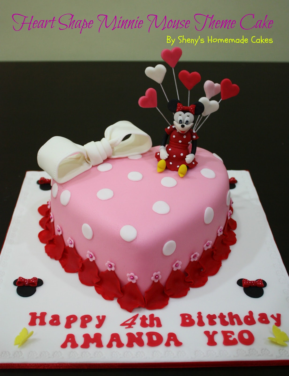 Shenys Homemade Treats Minnie Mouse Theme Birthday Cake For Amanda