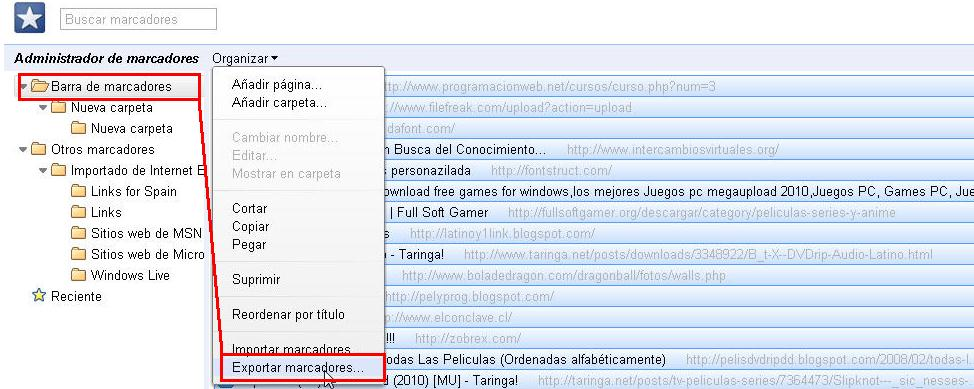 copiar favoritos google chrome