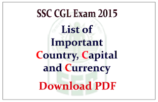 List of Important Country, Capitals and their Currency GK materials for SSC CGL Exam 2015