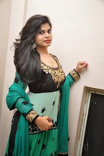 Alekhya in Green Anarkali Long Length Salwar Kameez at Premisthe Poya Kaalam Audio Release
