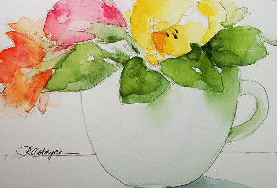 flowers in a coffee cup watercolor by Rose Ann Hayes