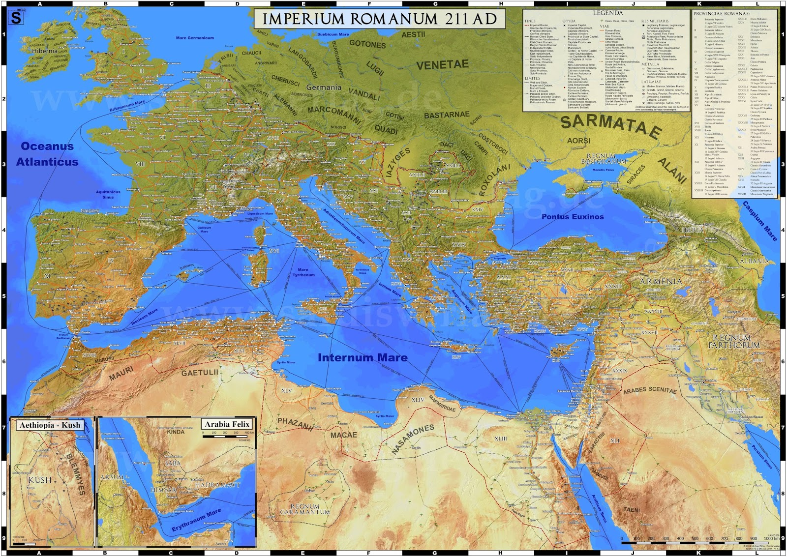 Detailed map of the Roman Empire (211 CE)