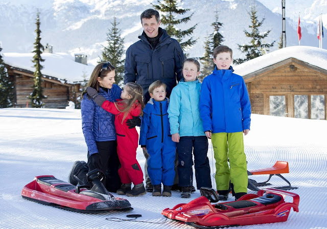 Princess Mary of Denmark, Princess Josephine of Denmark, Crown Prince Frederik of Denmark, Prince Vincent of Denmark, Princess Isabella of Denmark and Prince Christian of Denmark pose as the Danish Royal family hold their annual skiing photocall whilst on holiday