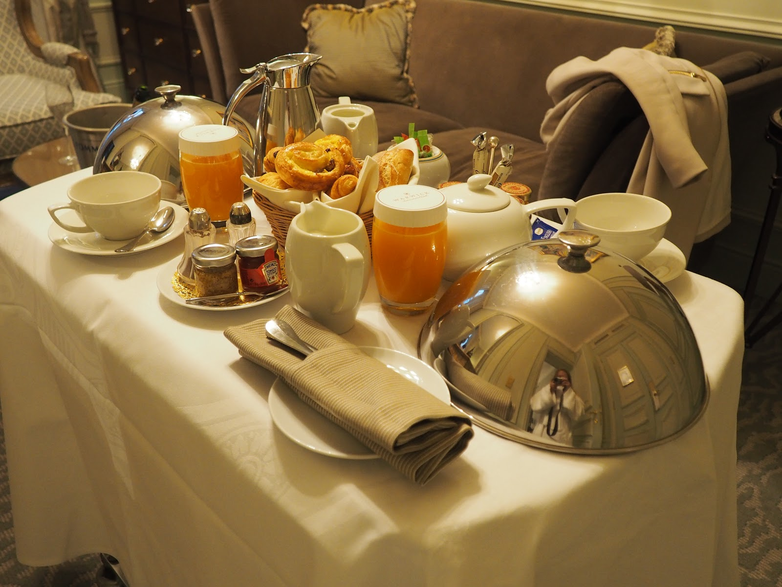 room service breakfast with silver platters at the Warwick Hotel Westminster